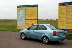 2006 Hyundai Accent at the Alberta/Saskatchewan border