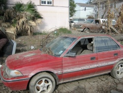 A once-flooded car, in the aftermath of Hurricane Katrina, which hit New Orleans in 2005; photo courtesy of Wikipedia user Infrogmation
