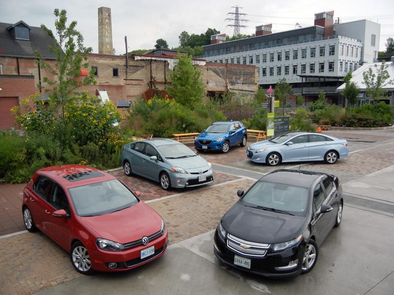 2013 Mazda CX-5 (SkyActiv-G), 2012 Hyundai Sonata Hybrid (Li-ion battery), 2012 Volkswagen Golf TDI (Clean Diesel), 2012 Toyota Prius (Hybrid, NiMH battery), 2012 Chevrolet Volt (range-extended electric car)