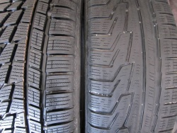 Michelin X-ICE Xi3. New tire, left, versus worn tire