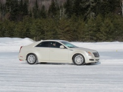 a Cadillac CTS on the handling course