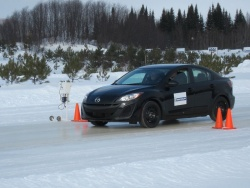 A car on the Mecaglisse ice course