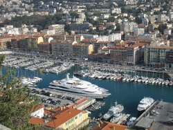 Le Vieux Port in Nice, viewed from La Colline du Chateau
