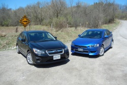 Subaru Impreza (left) and Mitsubishi Lancer AWC