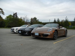 Jaguar XKR, Mercedes-Benz SL 550 and Porsche 911 Carrera S cabriolet