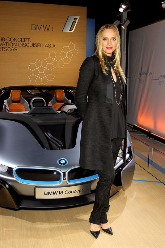 Uma Thurman with the BMW i8