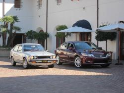 2013 Accord sedan (right) with 1976 Accord hatchback