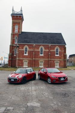 Head vs Heart Comparison: 2014 Mazda3 Sport GS vs 2014 Mini Cooper mini mazda car comparisons