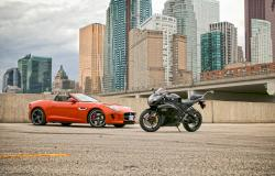 Quick Comparison: 2014 Jaguar F Type vs Suzuki GSX R1000 suzuki luxury cars jaguar car comparisons