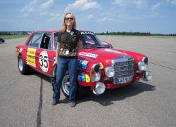 Lesley Wimbush with 1970 Mercedes-Benz 300 SEL 6.8 AMG