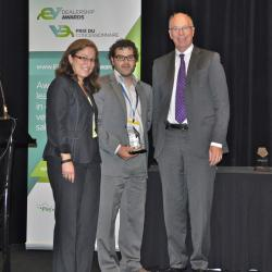 Leading PHEV Dealership Award Winner, Bourgeois Chevrolet co-owner Samuel Jeanson with Cara Clairman (left) and Jim Burpee (right)
