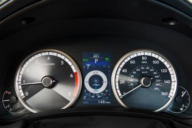 2015 Lexus NX 200t F Sport gauges showing accelerometer