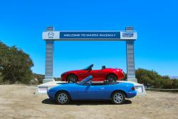 1990 Mazda Miata and 2015 Mazda MX-5