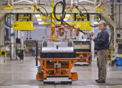 The first Chevrolet Volt battery moves through the assembly process