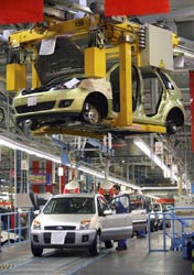 Ford Fiestas being produced at the company's plant in Cologne
