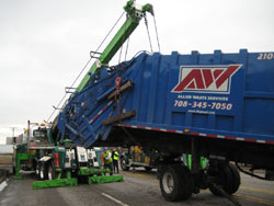 A heavy-duty tow truck at work