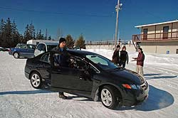 Traction 2006: Will Barber of AdvanTech Studios attaches his gear to the Honda Civic sedan