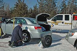 Ben Lalonde of Commercial Tire in Ottawa changes tires on the Hyundai Sonata