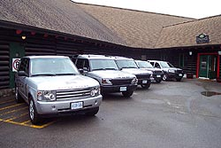 Land Rovers ready for the test at Montebello