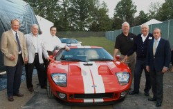 DEARBORN, MI (June 14,2003)-Nick Scheele, president and COO, Chris P. Theodore, vice president, Advanced Product Creation and  John Coletti, Chief Engineer, Special Vehicle Engineering, Ford Motor Company along with racecar greats Jackie  Stewart, Dan Gurney and Carroll Shelby with the 2005 Ford GT at Ford's Centennial Celebration at Ford World Headquarters .