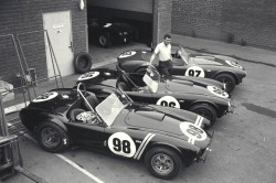 Shelby Roadsters Display, Venice, CA, 1963.Carroll Shelby with the 3 Cobra roadsters that would win the 1963 USRRC Manufacturer's Championship.CD#0777-3292-0894-17.