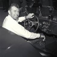 Cobra publicity, Venice, CA, 1963. Carroll Shelby at the wheel of a new Cobra production car. CD#0777-3292-0895-13.