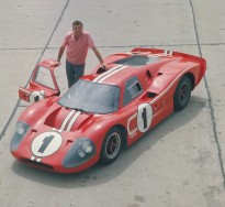 24 Hours of LeMans, LeMans, France, 1967. Carroll Shelby with the race winning Ford Mark IV. CD#0554-3252-2891-1.