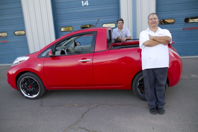Nissan engineers marry a LEAF to a Frontier for use around the s