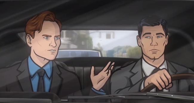 Conan O'Brien and Sterling Archer