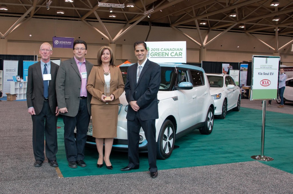 Peter Gorrie, co-chair for Canadian Green Car Award; Eric Novak, co-chair for Green Car Award; Maria Soklis, COO and EVP for Kia Canada; Michael Bettencourt, co-chair for Canadian Green Car Award