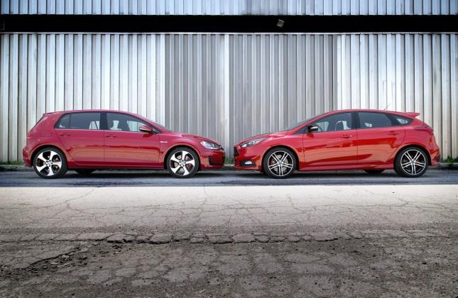 comparison test 2015 ford focus st vs 2015 volkswagen gti. Black Bedroom Furniture Sets. Home Design Ideas