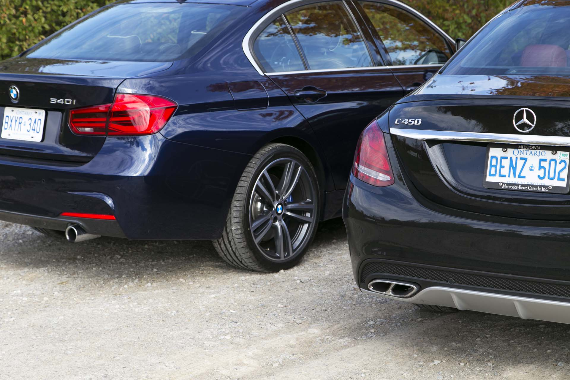 2016 bmw 340i xdrive vs 2016 mercedes benz c 450 amg for Bmw mercedes benz